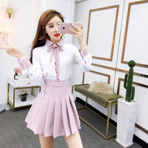 Girl Women/'s Sweet Lovely Lolita Princess Long Sleeve bowknot Tops Skirt Dress