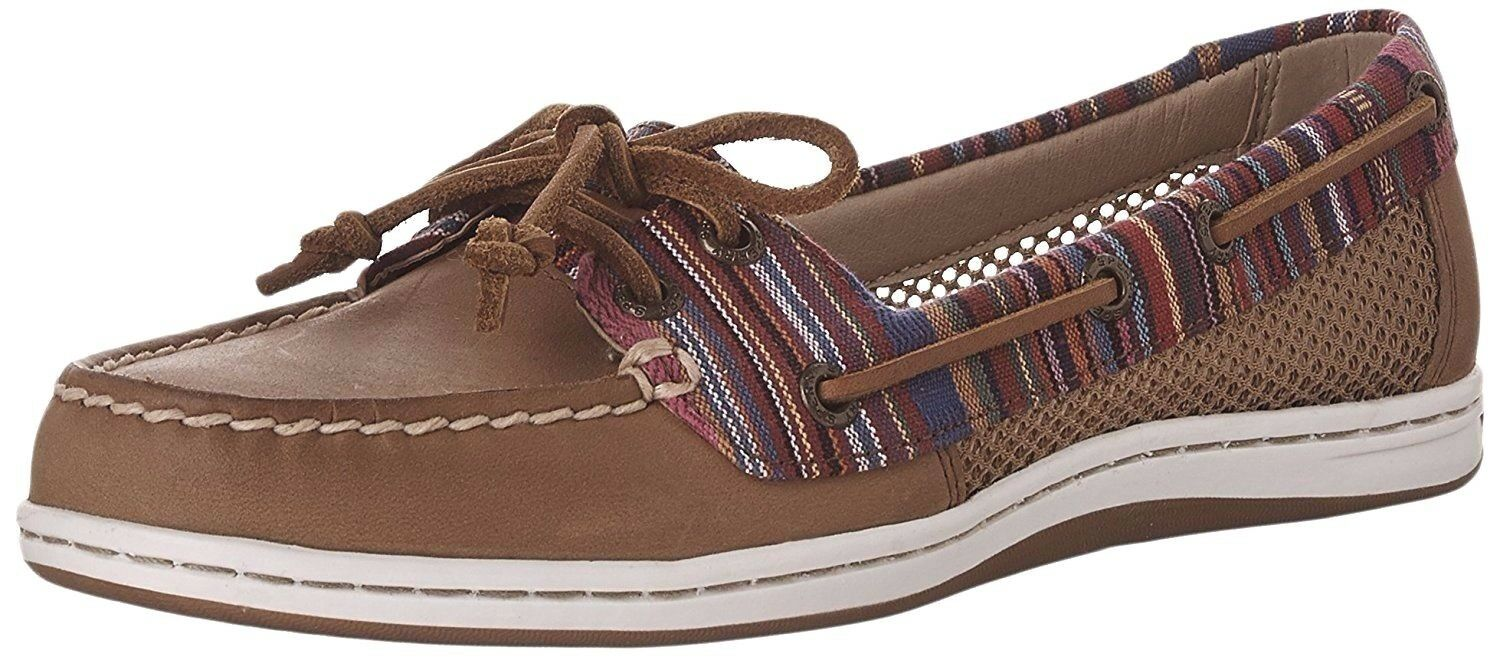 SPERRY TOP-SIDER women FIREFISH STRIPE BOAT SHOES Lace Up Leather TAN size 9.5 M