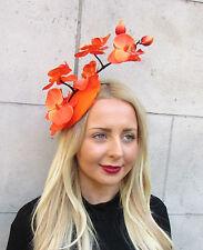 Schwarz Orange Orchidee Blume Kopfschmuck Hut Statement Kopfbedeckung Races
