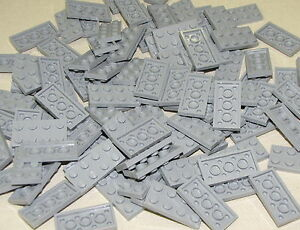 LEGO-LOT-OF-100-NEW-2-X-4-LIGHT-BLUISH-GREY-PLATES-TOWN-CITY-BUILDING-BLOCKS