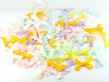 200 x 30mm Pastel Satin BOWS for Crafts, Sewing! Stick On With Glue Card Making