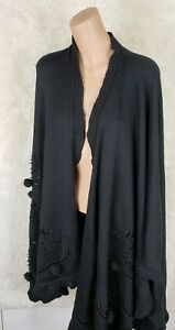 Ivana Black Wool One Trump Cape Women Front Size Embroidered Open Pom Sequin wFBwraxqO