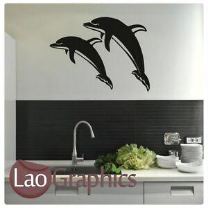 x2-Dolphin-Wall-Art-Sticker-Large-Vinyl-Transfer-Graphic-Decal-Home-Decor-bq8