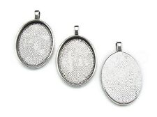 20 Oval Pendant Trays - 22x30mm - Antique Silver Color - Blanks Bezel Setting