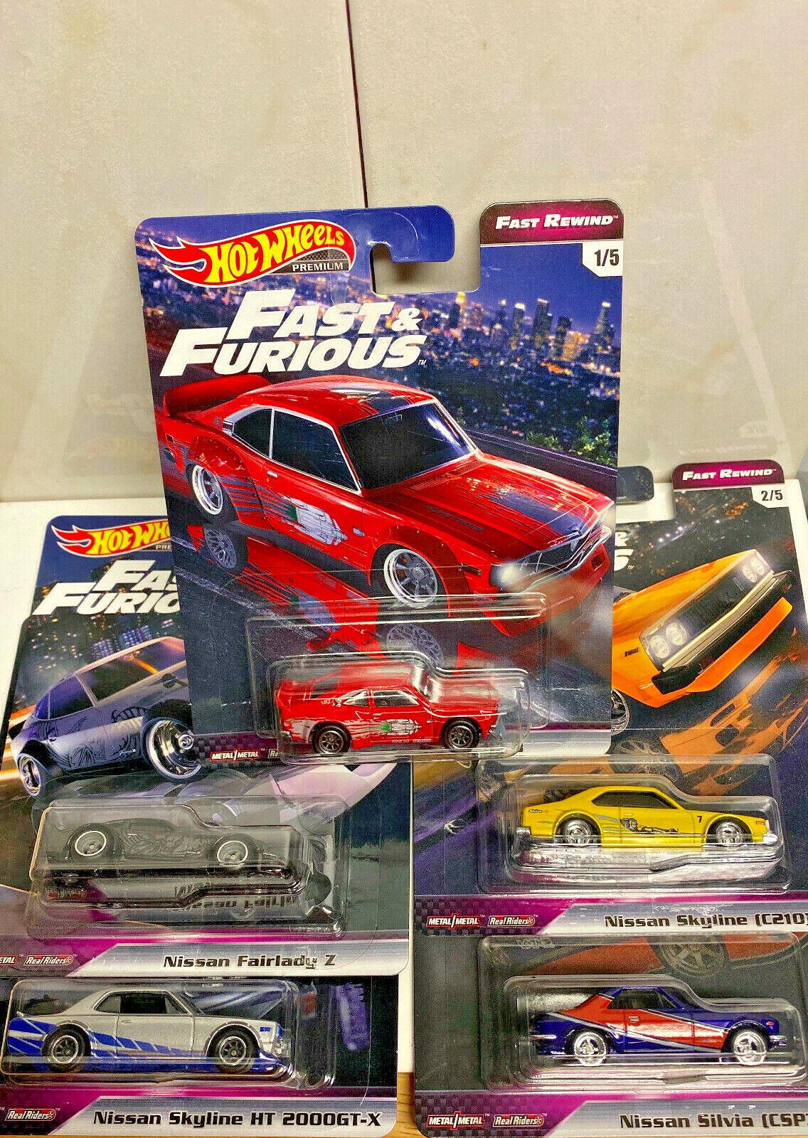 2019 Hot Wheels Fast And Furious Fast Rewind FULL SET OF 5 NIP