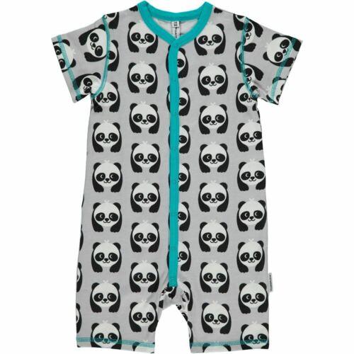 Maxomorra Organic Cotton Panda Baby Rompersuit Short Sleeved 0-2 2-6 Months