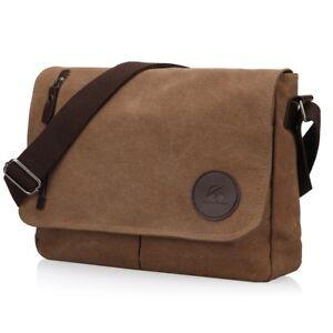 5bceaeeffb1 Men s Vintage Canvas Schoolbag Satchel Shoulder Messenger Bag Laptop ...