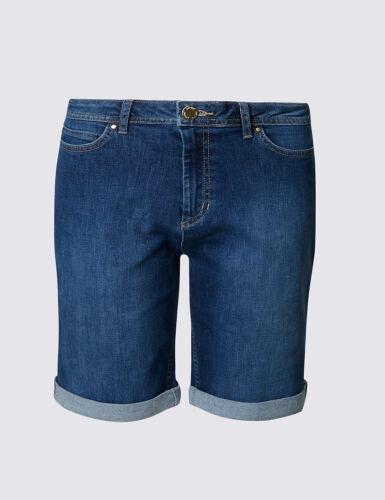 Ex M/&S Ladies Women Per Una Roma Rise Shorts Denim Pants Trousers Knee Length UK