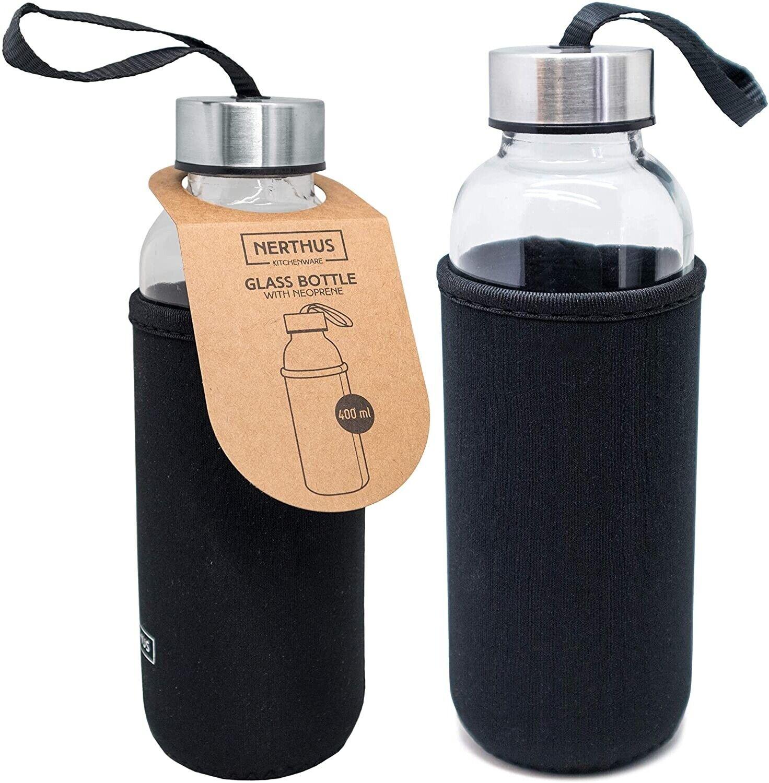 Botella de vidrio cierre hermético 400ml,Funda Neopreno,cinta colgar,sin olores