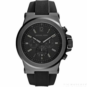 b24cdf5372b0 Image is loading Michael-Kors-Watches-MK8152-Dylan-Black-Silicone- Chronograph-