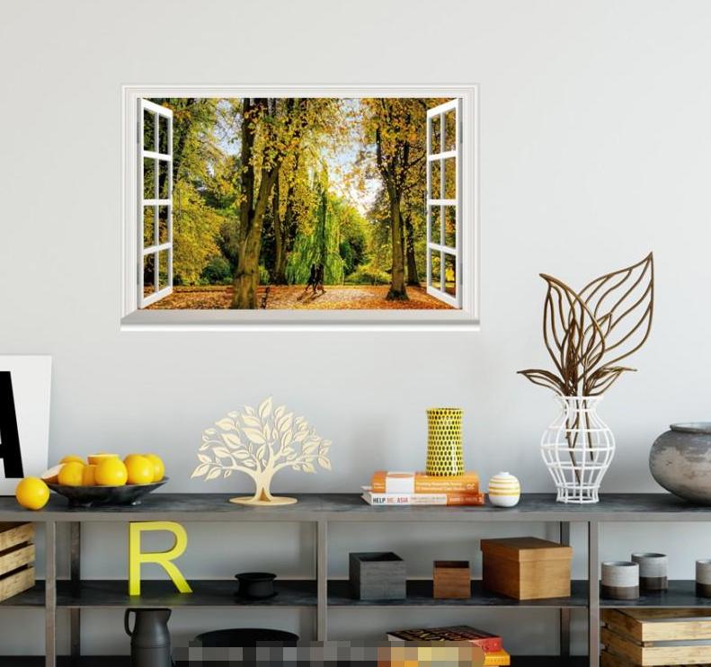 3D Grove Trees 422 Open Windows WallPaper Murals Wall Print Decal Deco AJ Summer