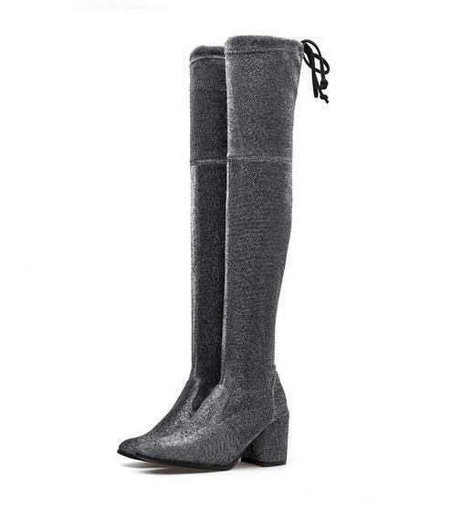Occident Womens Stretchy Sequin Fabric Chunky Heels Over Knee High Boots shoes