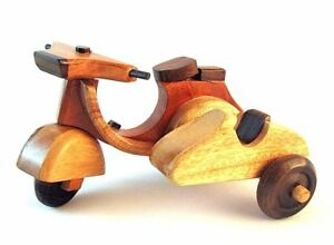 HAND-CRAFTED-HIGH-QUALITY-WOOD-ART-SCULPTURE-MODEL-MOTORCYCLE-WITH-SIDE-CAR