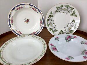 Vtg Mismatched China Bowls ~Set of 4 Soup Salad Pasta Bowls RIMMED Colorful