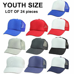 YOUTH SIZE ~ 24 TRUCKER HATS WHOLESALE BULK LOT 2 DOZEN MESH CAPS ... febf0ca05