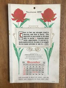 ANTIQUE-DECEMBER-1912-CALENDAR-BY-OSBOLDSTONE-amp-CO-MELBOURNE-PRINTER-ART-NOUVEAU
