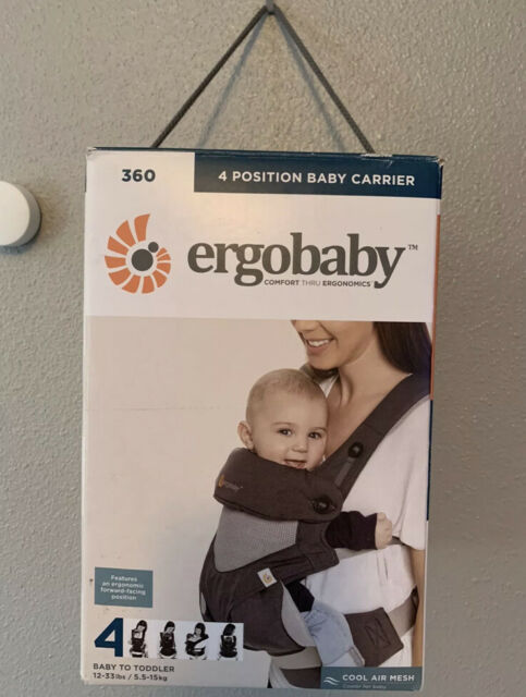 Ergobaby Carrier 360 4 Carry Positions Cool Air Mesh Carbon Grey Newborn Pillow