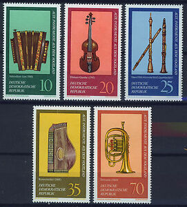 ALEMANIA-RDA-EAST-GERMANY-1977-MNH-SC-1817-1821-Musical-instruments