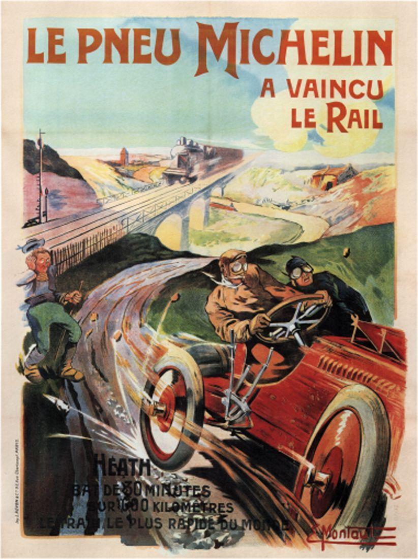 Vintage AdGrünising- Le Pneu Michelin -France c.1905 - 24 x36  Art on Canvas