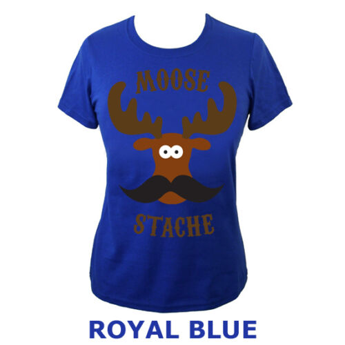 Womens Moose Stache Moustache Funny Animal Face Top T-shirt NEW UK 6-18