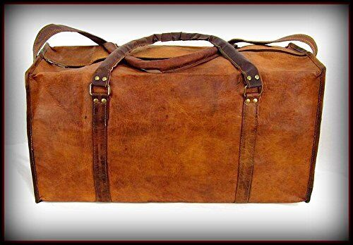 New Men/'s duffel genuine Leather large vintage travel gym weekend overnight bag