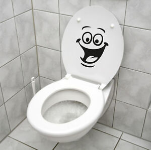 Smiley face wc toilet decal wall mural art decor funny bathroom sticker vinyl - Decor wc ...
