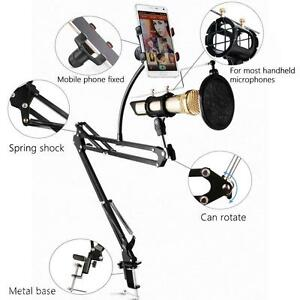 Microphone Stand with Mic Wind Pop Filter Mask Shield Phone Holder Recording