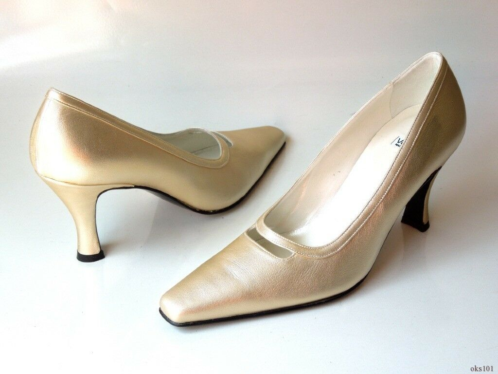 NEU Versani 7004 gold Leder pointy toe PUMPS Schuhes  7.5 - classy