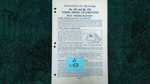 LIONEL # 681 /& 736 SMOKE LOCOMOTIVES W// MAGNE-TRACTION INSTRUCTIONS PHOTOCOPY