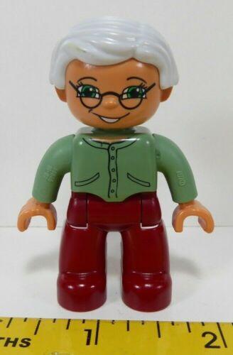 Lego Duplo Figure Grandma Silver Hair Olive Top Maroon Pants Grandmother
