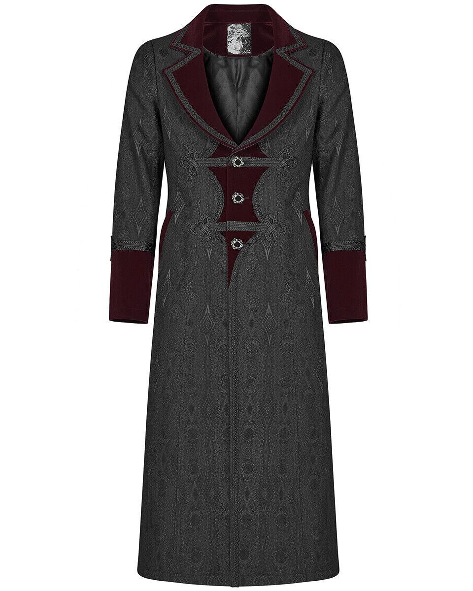 Punk Rave Mens Long Gothic Coat Jacket Black Brocade Damask Red Velvet Steampunk