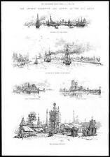 1885  BELGIUM Views of ANTWERP exhibition Steamers on the Scheldt Flemish  (019)
