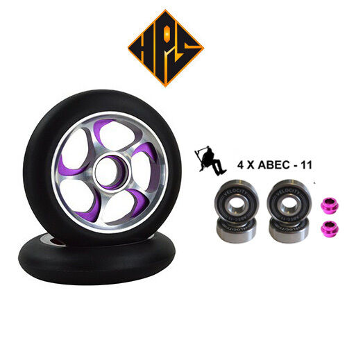 NEW 2X STORM PRO STUNT SCOOTER PURPLE METAL CORE WHEELS 100mm ABEC 11 BEARING 9