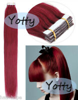 Seamless Tape In Skin Weft Remy Human Hair Extensions Burgundy 16inch 20pieces