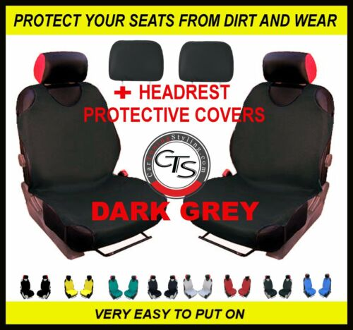 CAR FRONT SEAT COVERS PAIR HEADREST DARK GREY FORD KUGA MONDEO MK1 FOCUS MK3