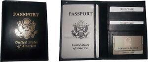 2 New Usa Passeport Cuir Étui Portefeuille Atm Carte Id Support Tout Nouveau
