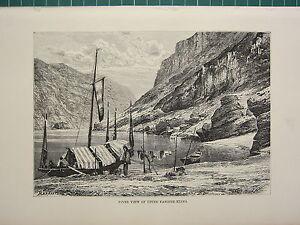 C1890 Antico Stampa ~ Fiume Vista Di Superiore Yangtze-Kiang