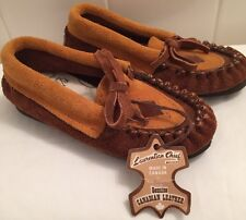 Children's Laurentian Chief Moccasins NWT Size 6 Brown Suede Leather Kids Spring