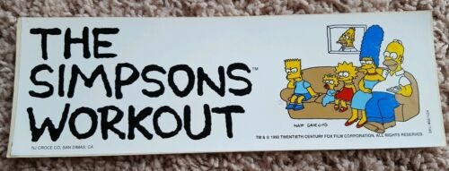 VINTAGE 1990 THE SIMPSONS FAMILY LAZY WORKOUT BUMPER STICKER HOMER BART MARGE