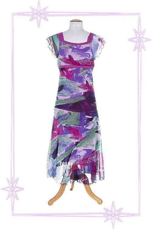 D - Robe Fantaisie à Bretelles Violet   Bleu .. Imprimé Lewinger Taille 1 - 36