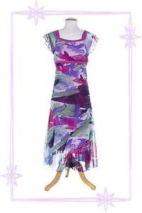 D-Robe-Fantaisie-a-Bretelles-Violet-Bleu-Imprime-Lewinger-Taille-1-36