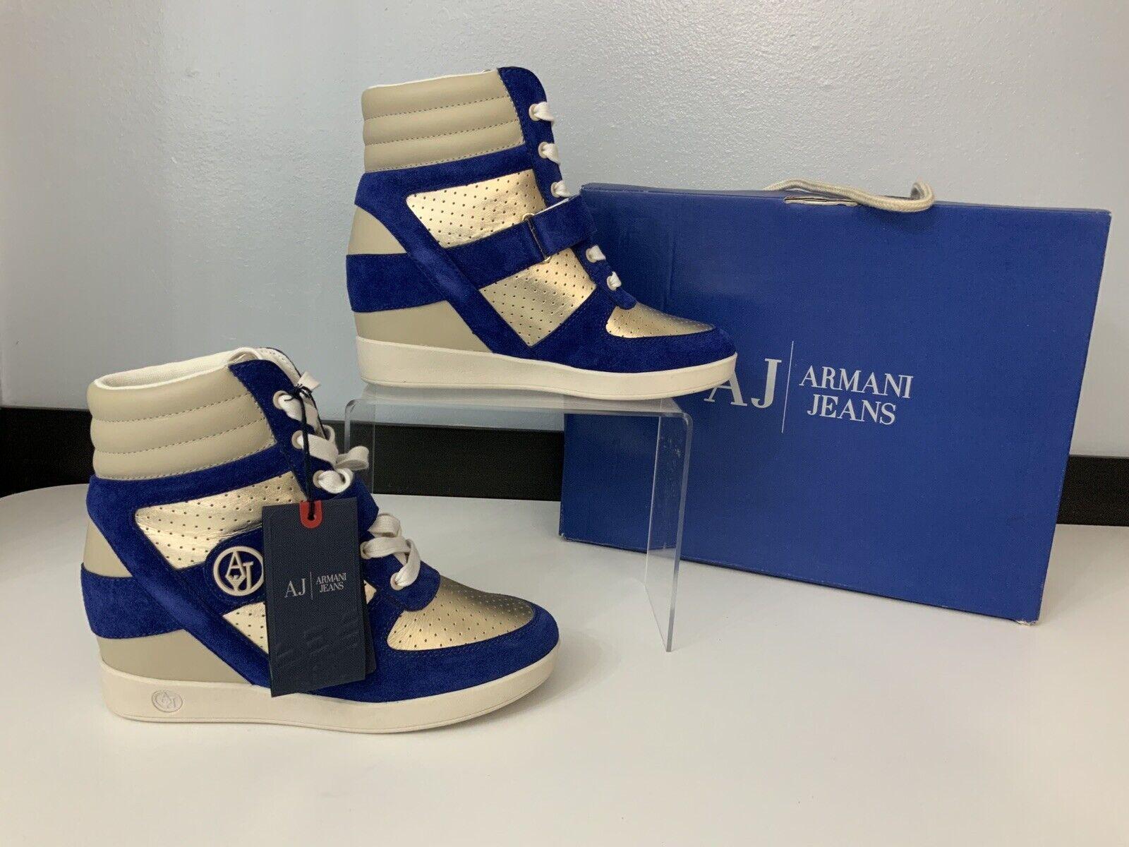 Armani Jeans Nuevo Azul Gamuza oro Hi Top botas Reino Unido 6 Nuevos Y En Caja Zapatillas