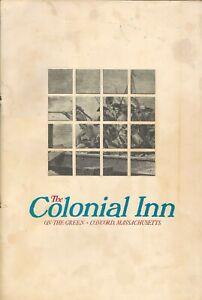 Vintage THE COLONIAL INN Restaurant Menu Concord Massachusetts 1976
