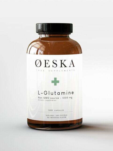OESKA L-GLUTAMINE 1000mg  NON-GMO source  / 100 VEGAN capsules