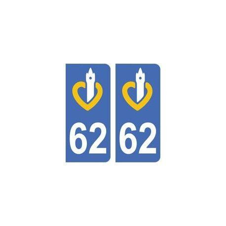 62 Pas-de-Calais autocollant plaque droits