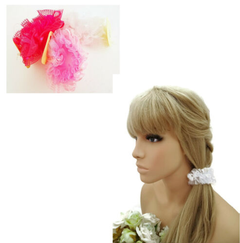 Lacy Ribbon Scrunchie Hair Elastic Bobble with Pearl Style Beads