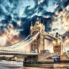 QUADRO ASTRATTO MODERNO IN SU VETRO TEMPERATO 50x50CM CITTA TOWER BRIDGE LONDRA