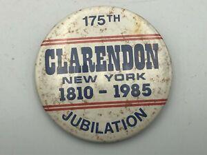1810-1985-Clarendon-New-York-175th-Jubilation-2-3-8-034-Button-Pin-Pinback-Rare-R3