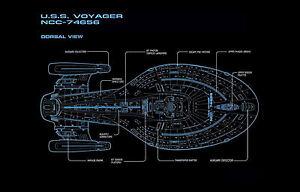 Lámina-Star Trek Modelo USS Voyager vista dorsal (imagen de arte cartel)  </span>