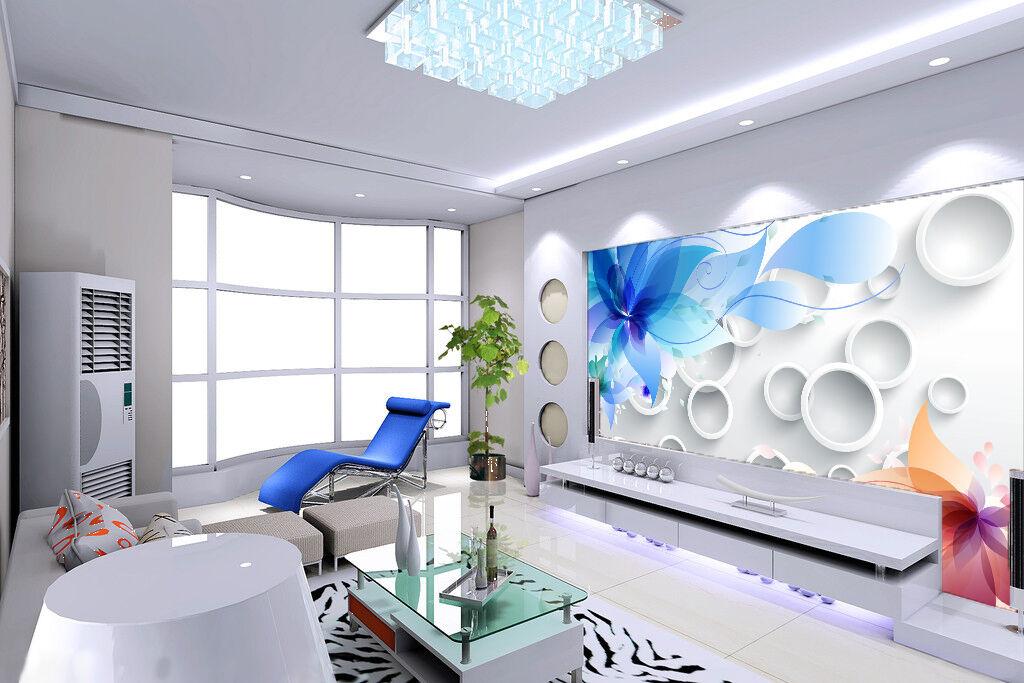 3D Blau Flowers And Circle 732 Wall Paper Wall Print Decal Wall AJ WALLPAPER CA